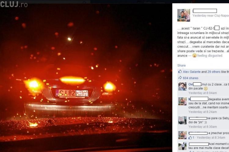 Are Mercedes, dar degeaba. L-a fotografiat în Florești când arunca pe geam gunoaie - FOTO