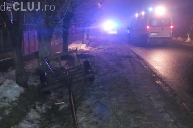 Un cal scăpat de sub control a făcut prăpăd pe un drum din Cluj. A rupt o căruță în două și a lovit un Mercedes VIDEO