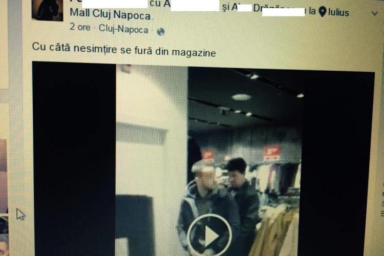 """Doi șmecherași s-au filmat în timp de """"furau"""" din Iulius Mall Cluj"""