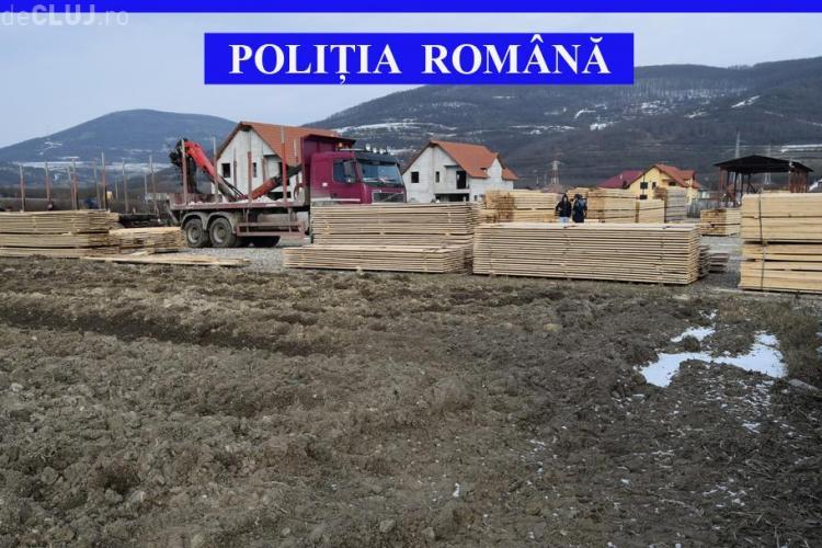 Captură uriașă de lemne la Cluj. Au confiscat marfă de zeci de mii de lei FOTO