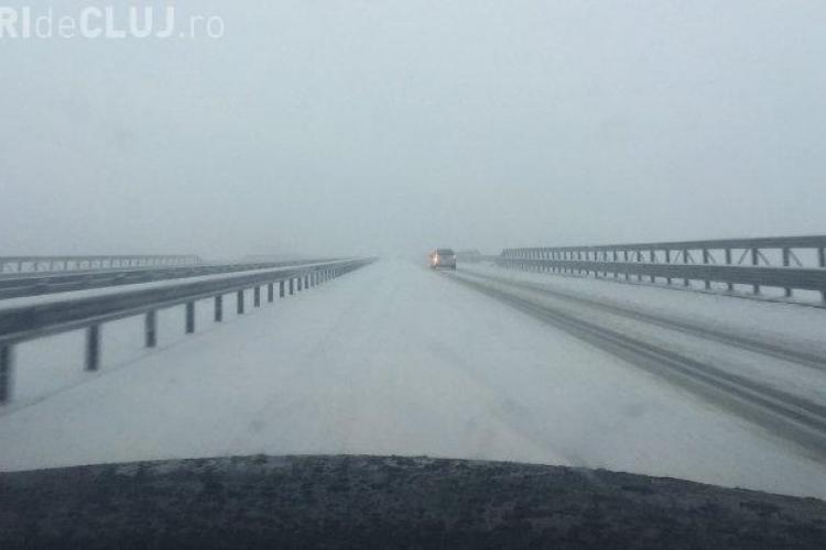 Autostrada Transilvania e ACOPERITĂ de zăpadă: Pentru ce plătim taxe de drum ? Veșnica întrebare - FOTO