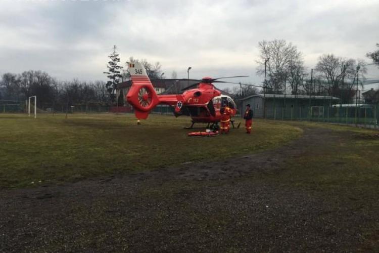 Clujeancă transportată de urgență cu elicopterul SMURD la București. A suferit arsuri grave pe jumătate de corp FOTO