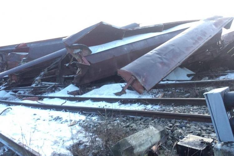 Tren deraiat între Dej și Jibou. Transporta sare de la Dej și mergea în Ungaria - VIDEO