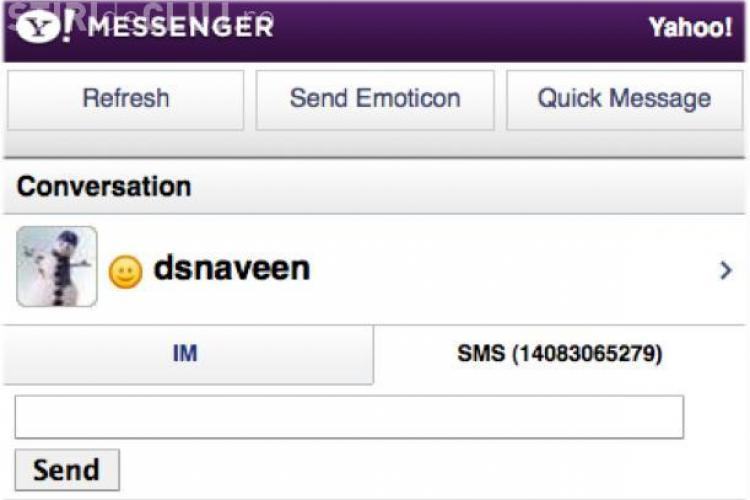 Alarma falsa. Se poate trimite SMS gratuit de pe Yahoo Messenger, dar nu in Romania