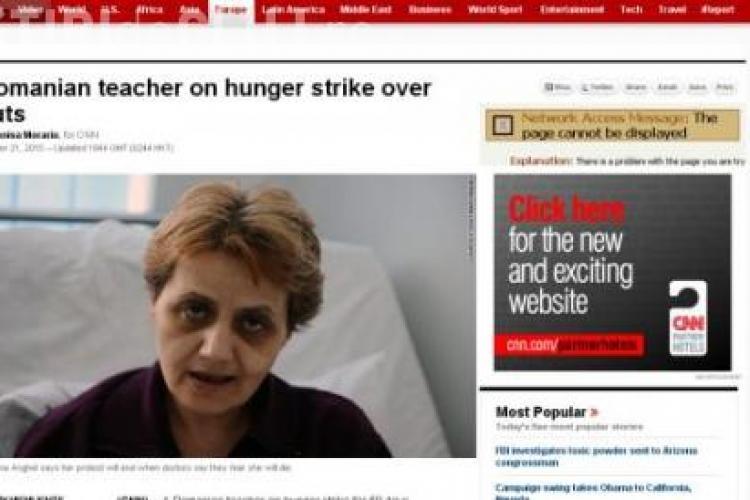 Cristiana Anghel, profesoara in greva foamei, la CNN