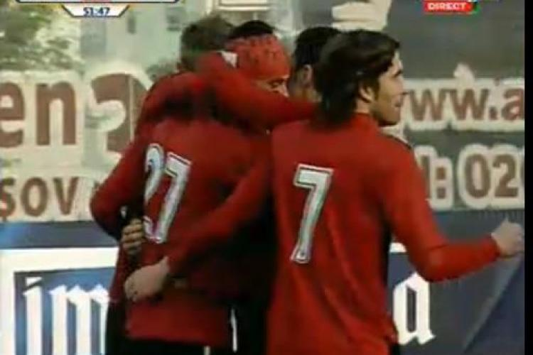 Gol Lemnaru! Jucatorul a inscris cu un lob superb peste portar FC Brasov - u Cluj 1-1 / VIDEO