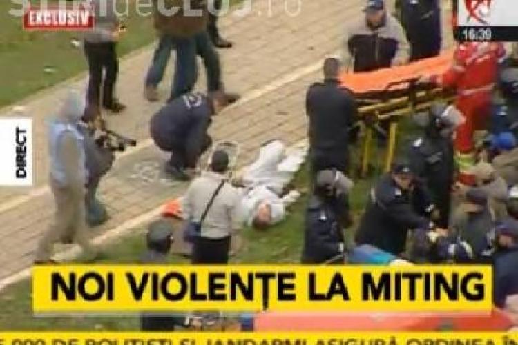 Trei persoane au lesinat in urma confruntarilor cu Jandarmii, din timpul mitingului de la Bucuresti! Altii au fost retinuti - VIDEO