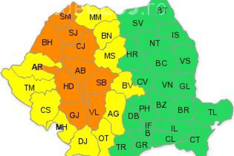 Clujul sub COD PORTOCALIU de furtuni! ANM anunță ploi în cantități foarte mari
