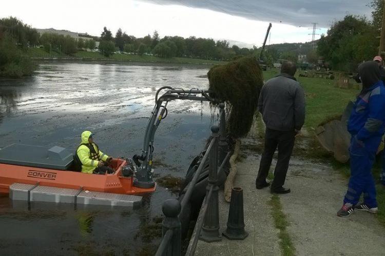 Cluj - 15 tone de vegetație acvatică au fost adunate din Someșul Mic cu utilajul amfibiu
