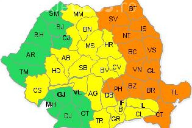 Aproape toată țara sub cod galben și portocaliu de ploi și ninsoare! Clujul este afectat