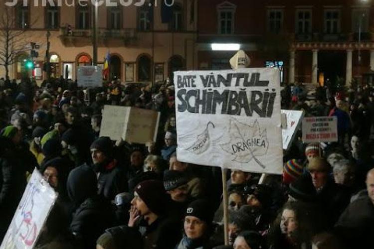 UPDATE Ziua 11 de proteste la Cluj! 3.000 de oameni au ieșit la protest FOTO/VIDEO