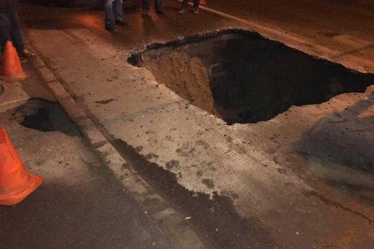 Blocaj în Gheorgheni! S-a surpat o stradă - FOTO