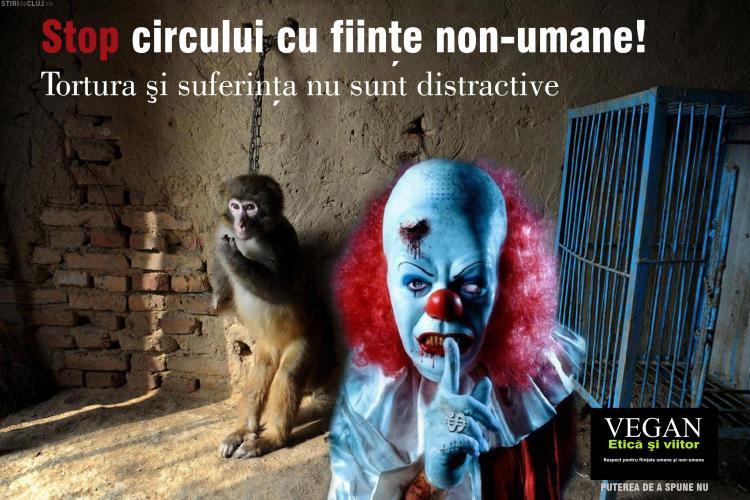 Cluj - Protest împotriva folosirii animalelor la circurile din România