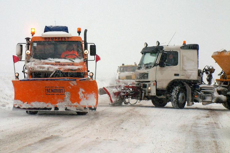 Județul Cluj: Deszăpezire pe Autostrada Turda - Gilău. Cum se circulă în rest