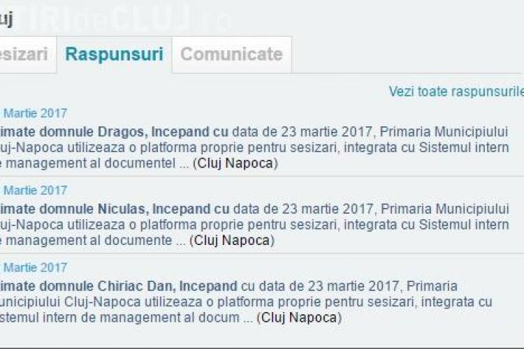Primăria Cluj nu mai răspunde sesizărilor de pe domnuleprimar.ro. Îi trimit pe cetățeni să folosească aplicația primăriei