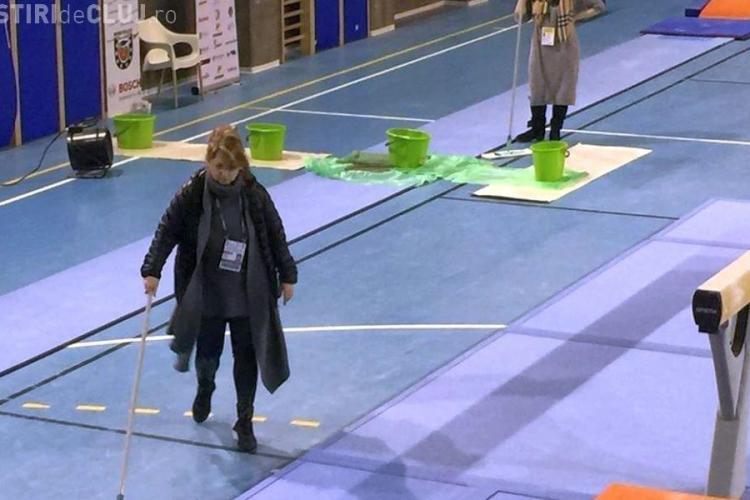 Reporter TVR București face Clujul de rușine: Plouă în sala unde se antrenează sportivii de la Campionatele Europene