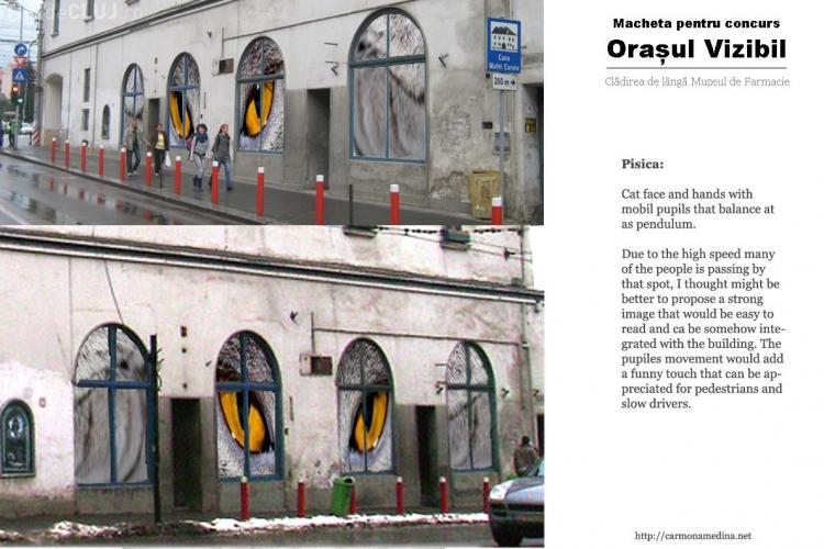 Lucrari de arta in vitrinele spatiilor comerciale abandonate din Cluj GALERIE FOTO