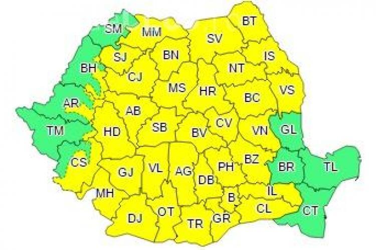 COD GALBEN de ploi în aproape toată țara! Clujul este afectat