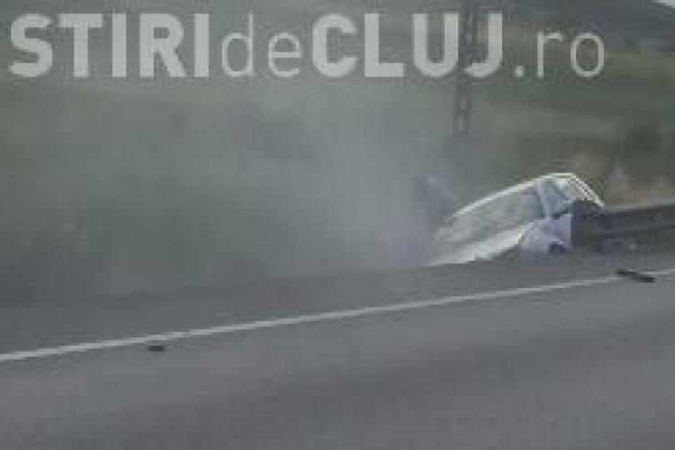 Accident cu o victimă pe centura Cluj - Apahida. Un șofer a ajuns cu mașina direct în șanț VIDEO