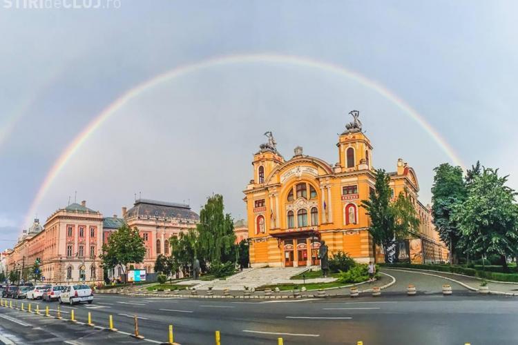 """Clujul """"apărat"""" de un minunat curcubeu! Dacă nu ați apucat să îl vedeți ... - VIDEO"""