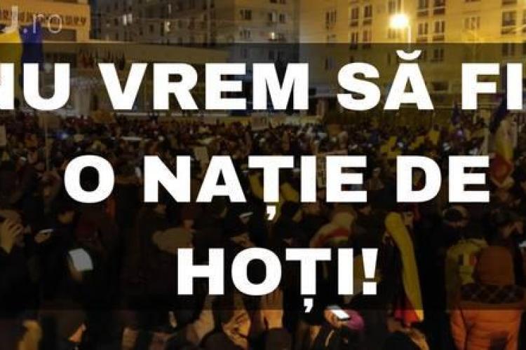 """Protest la Cluj, duminică, 16 iulie: """"NU vom fi o naţie de hoţi! Apărăm democratia!"""""""