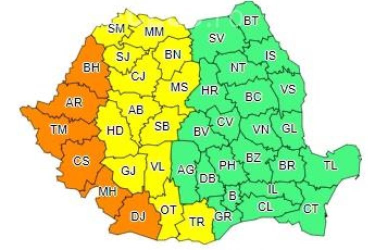 Un nou cod galben de caniculă la Cluj. Mai multe județe se află sub cod portocaliu