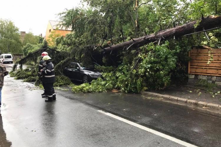 Ravagii la Cluj, în urma furtunilor de duminică. Pompierii au avut zeci de intervenții FOTO
