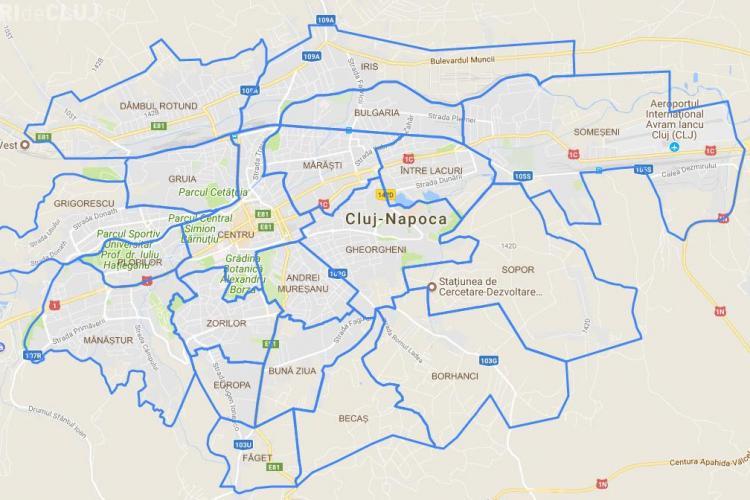 Cluj: Harta cartierelor! Cum au crescut cartierele Clujului din 2016 în 2017