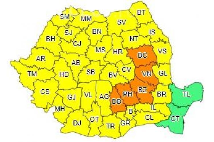 Toată România sub cod galben și portocaliu de furtuni și vijelii! Ce anunță ANM