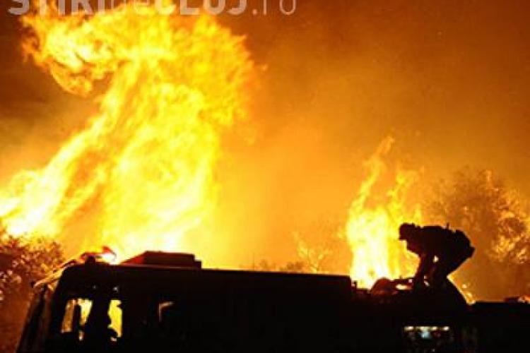 VIDEO - Incendiul MARE lângă Pata Rât. Au ars zeci de barăci ale romilor de pe strada Cantonului