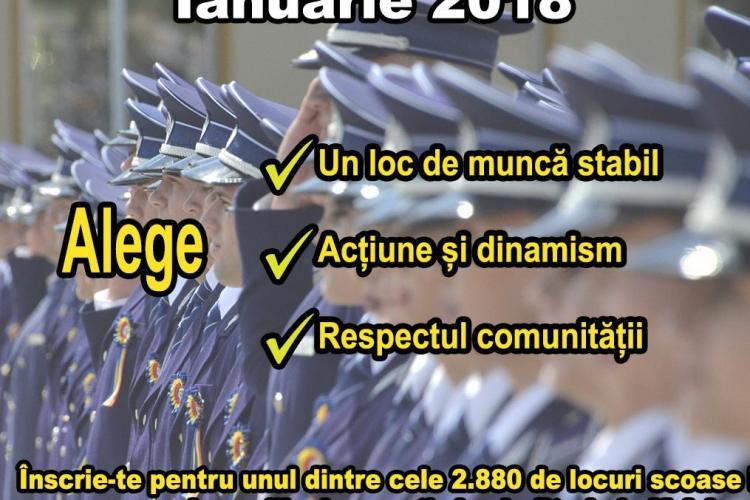 Concurs de admitere la școlile de Poliție, în ianuarie 2018! La Cluj se pun la bătaie 300 de posturi