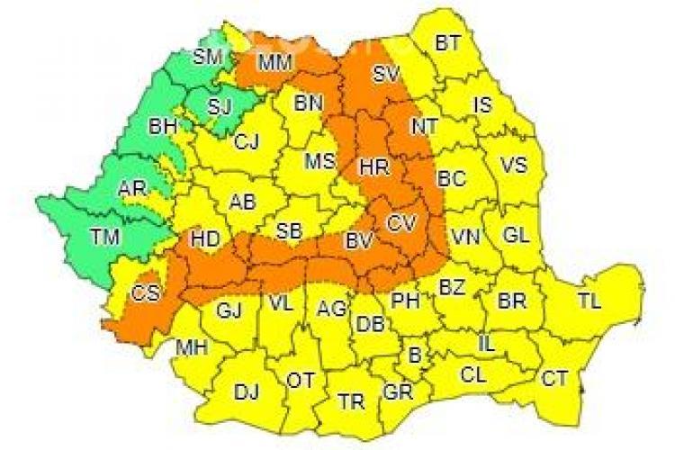 Clujul sub COD GALBEN de vijelii și temperaturi scăzute. Ce anunță ANM