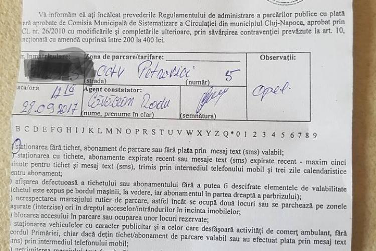 Clujean amendat de Poliția Locală deși plătise parcarea prin SMS - FOTO