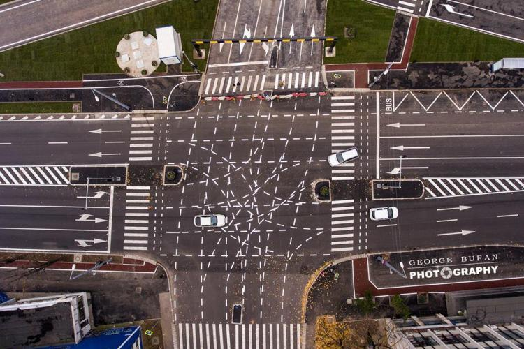 Marcaje rutiere halucinante în Timișoara - FOTO