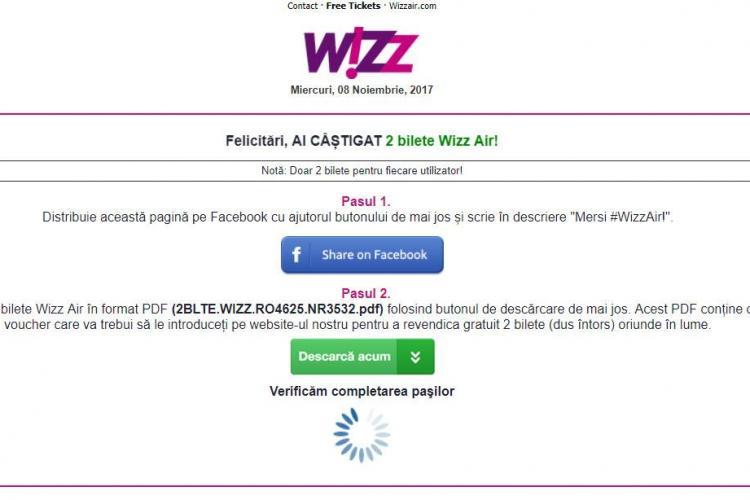 """Înșelătorie cu bilete Wizz Air: """"Ai câștigat 2 bilete Wizz Air"""". Despre ce este vorba"""