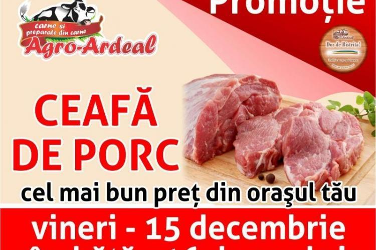 Ceafa de porc cu CEL MAI BUN PREȚ DIN Cluj, în 15 și 16 Decembrie, în magazinele Agro-Ardeal!