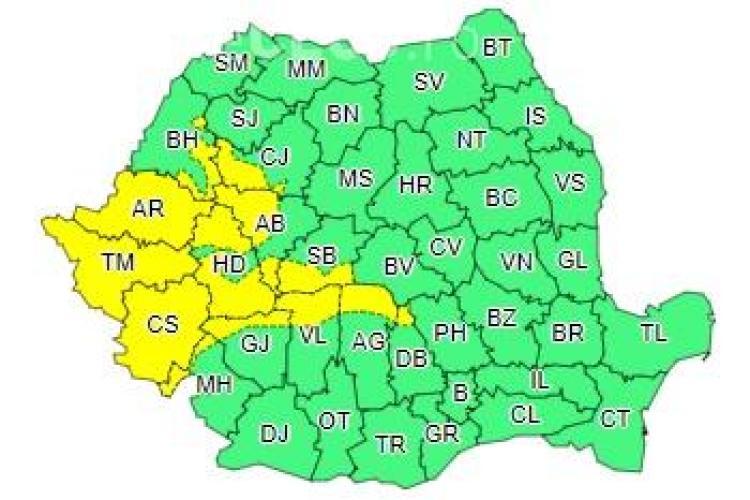 Cod galben de vânt puternic în mai multe județe din țară. Clujul este afectat