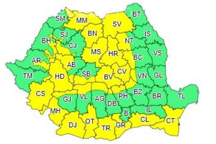 Cod galben de ninsori și vreme rea în mai multe județe. Clujul e afectat