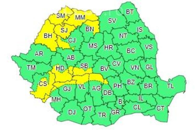 Meteorologii anunță ploi și vânt puternic în mai multe județe! Clujul este afectat