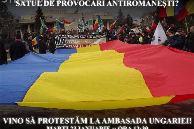 Noua Dreaptă protestează în fața ambasadelor Ungariei de la București și Chișinău