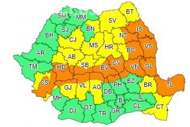 Clujul, din nou sub cod galben de ninsori! Mai multe județe sunt sub avertisment de tip cod portocaliu