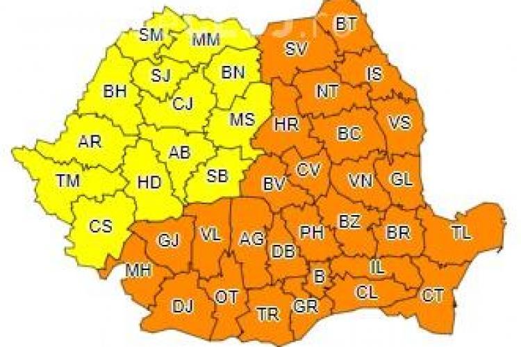 Gerul cuprinde TOATĂ România! Mai mult de jumătate de țară este sub cod portocaliu de ger