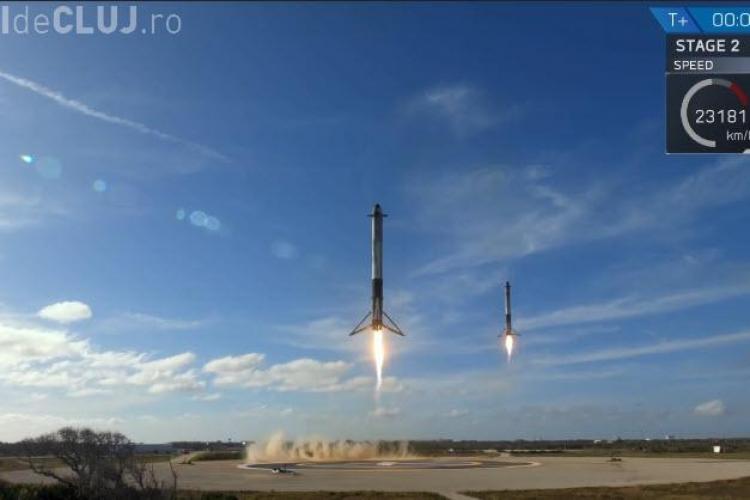 Propulsoarele SpaceX au aterizat sincron pe Pământ. Imagini spectaculoase - VIDEO