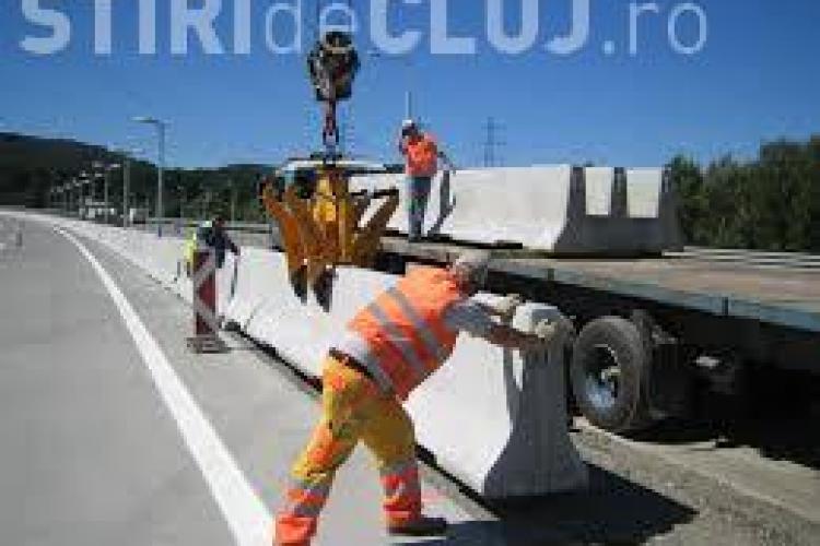 Cluj: Continuă montarea parapetelor de beton și pe DN 1F