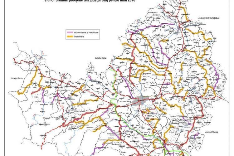 Harta drumurilor județene care urmează să fie reabilitate în 2018 de CJ Cluj. Vezi care sunt sectoarele de drum pe care se va lucra