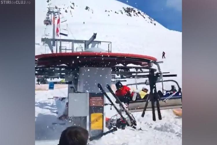 Un telescaun din Georgia a prins viteză foarte mare. Schiorii au sărit din mers - VIDEO
