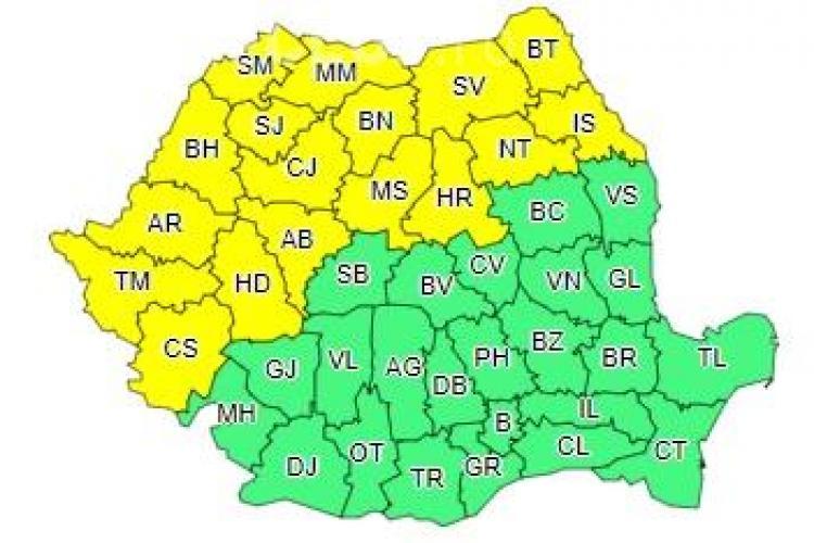 Mai mult de jumătate de țară sub cod galben de ploi! Clujul este afectat