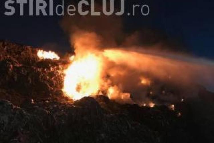 Rampa de gunoi de la Pata Rât, din nou în flăcări. Pompierii au intervenit ore întregi pentru a stinge incendiul