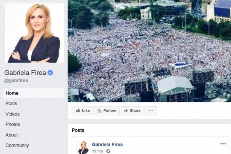 UPDATE - Gabriela Firea și-a închis din nou pagina de Facebook, din cauza miilor de comentarii negative
