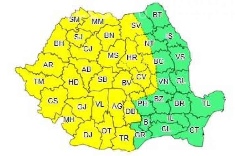 Nu-ți uita umbrela acasă! ANM anunță COD GALBEN de vreme rea în aproape toată țara, iar Clujul este afectat
